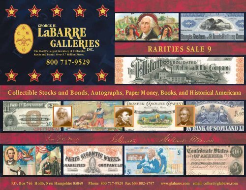 4f44f10146 Rarities Sale #9 Click Here to View - George H. Labarre Galleries, Inc