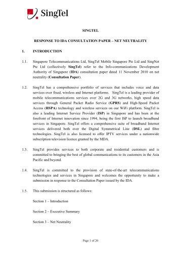 SINGTEL RESPONSE TO IDA CONSULTATION PAPER – NET ...