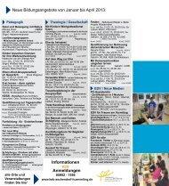 Neue Bildungsangebote von Januar bis April 2013 - KEB ...