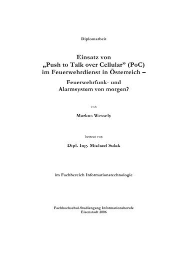 """""""Push to Talk over Cellular"""" (PoC) - IT-Services - FH Burgenland"""