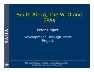 South Africa, The WTO and EPAs - Egmont