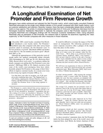 A Longitudinal Examination of Net Promoter and Firm Revenue Growth