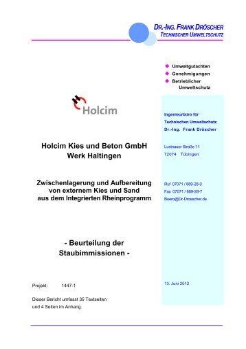 Holcim Kies und Beton GmbH Werk Haltingen - Beurteilung der ...