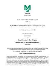Wertpapierprospekt Maschinenfabrik Spaichingen ... - Börse Frankfurt