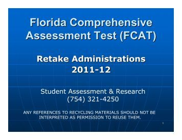 The florida comprehensive assessment test fcat essay
