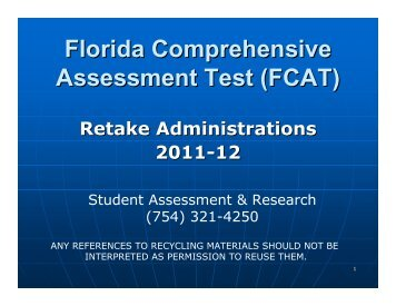 Florida Comprehensive Assessment Test (FCAT) Retake ...