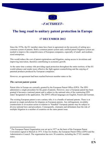 The long road to unitary patent protection in Europe - Europa