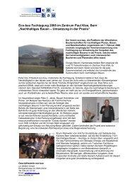 Eco-bau Fachtagung 2008 im Zentrum Paul Klee, Bern ...