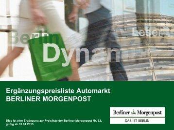 Ergänzungspreisliste Automarkt BERLINER MORGENPOST