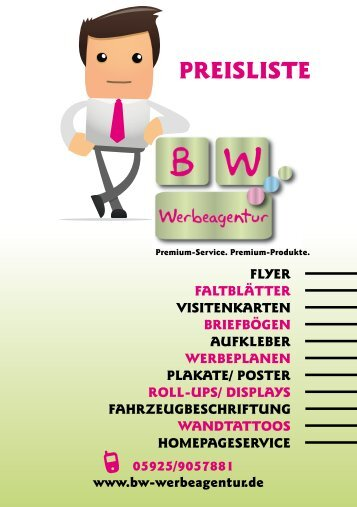 PREISLISTE - BW Werbeagentur