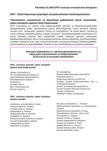 EPAT - Etelä-Pohjanmaan järjestöjen ... - Kolmassektori.net