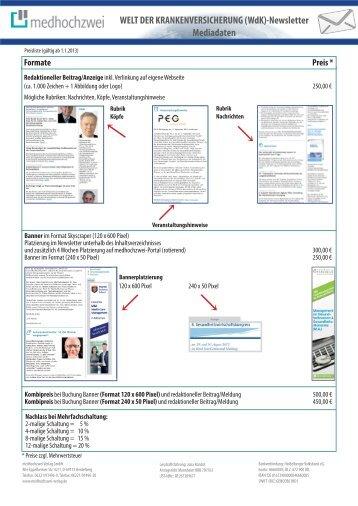 Mediadaten zum WdK-Newsletter - medhochzwei Verlag GmbH