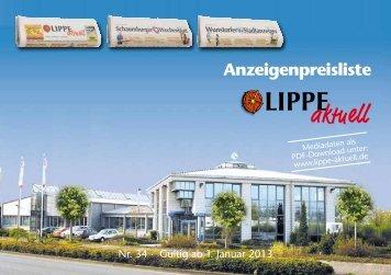 Anzeigenpreisliste herunterladen - LIPPE aktuell