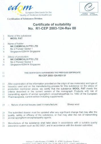 Certificate of suitability No. R1-CEP 2003-124-Rev 00