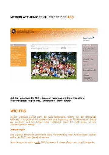 MERKBLATT JUNIORENTURNIERE DER ASG - Golfclub Rheinblick