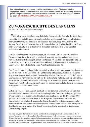 zu vorgeschichte des lanolins - Deutsche Lanolin Gesellschaft