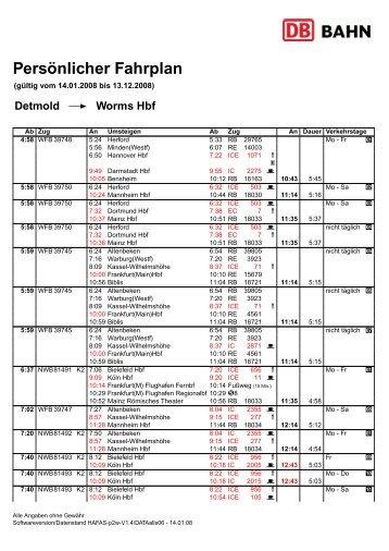 Pers ¨onlicher Fahrplan - Stadtverkehr Detmold GmbH