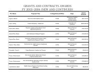 GRANTS AND CONTRACTS AWARDS