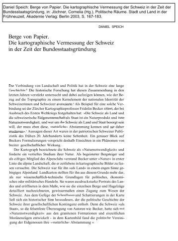 Berge von Papier. Die kartographische Vermessung der Schweiz in ...