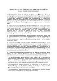 Gemeinsame Erklärung zur Stärkung der Tarifpartnerschaft