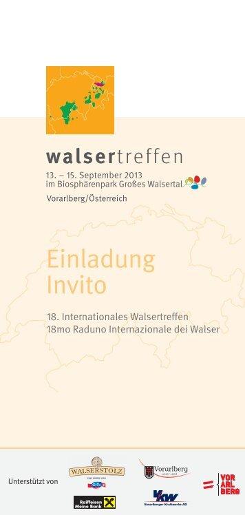 Einladungsbroschüre Walsertreffen 2013 - Biosphärenpark Großes ...