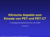 Klinische Aspekte zum Einsatz von PET und PET-CT