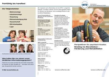 Feinfühlig bis handfest - WFB - Werkstätten des Kreises Mettmann ...