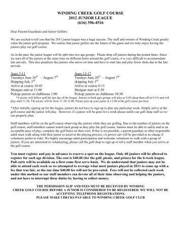WINDING CREEK GOLF COURSE 2012 JUNIOR LEAGUE (616 ...