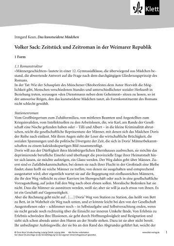 Zeitstück und Zeitroman in der Weimarer Republik - Ernst Klett Verlag