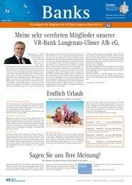 Das Magazin für Mitglieder der VR-Bank Langenau
