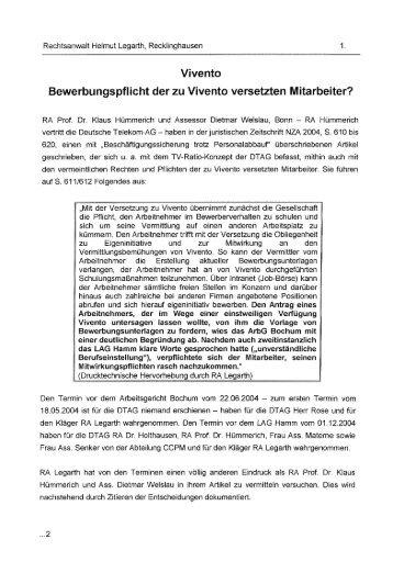 Vivento Bewerbungspflicht der zu Vivento versetzten Mitarbeiter?