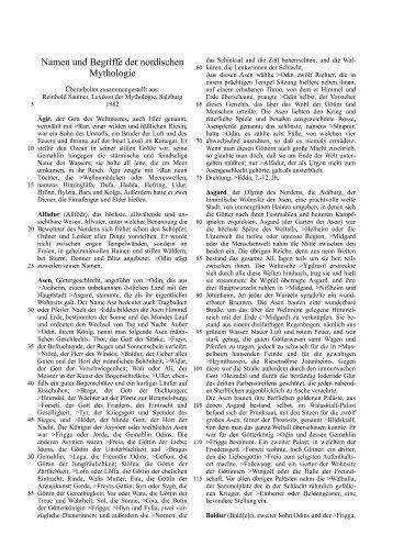 Namen und Begriffe der nordischen Mythologie