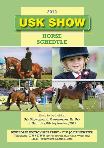 download the 2012 horse and showjumping schedule - Usk Show