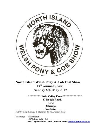 North Island Welsh Pony & Cob Foal Show 13 Annual ... - Wep.co.nz
