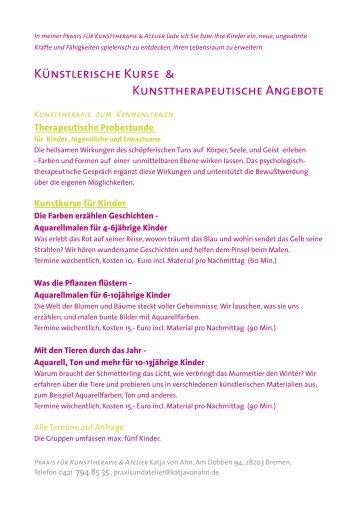 KÜNSTLERISCHE KURSE & - Katja von Ahn Praxis & Atelier