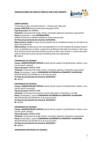 CONVOCATORIAS DE EMPLEO PÚBLICO CON PLAZO ABIERTO