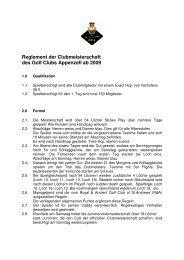 Reglement der Clubmeisterschaft des Golf Clubs Appenzell ab 2009