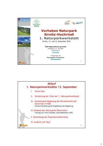 Naturpark Hochrindl - Folien 1. Naturparkwerkstatt, 13 und 14-09-2010