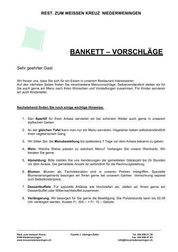 Bankettvorschläge - Restaurant zum weissen Kreuz Niederweningen