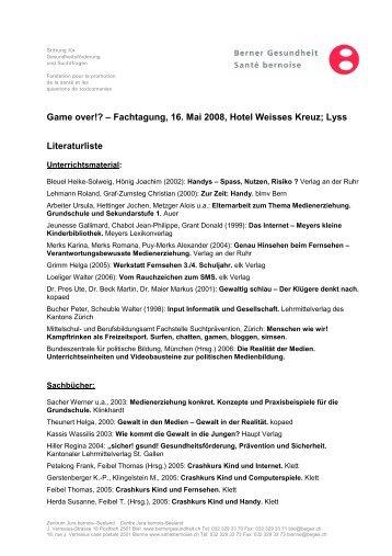 Fachtagung, 16. Mai 2008, Hotel Weisses Kreuz; Lyss Literaturliste