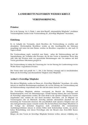 landesrettungsverein weisses kreuz vereinsordnung - Weißes Kreuz