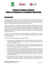 PROPUESTA SINDICAL CONJUNTA PARA EL VI CONVENIO DE LA ENSEÑANZA CONCERTADA