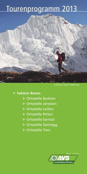 Tourenprogramm 2013 - Alpenverein Südtirol