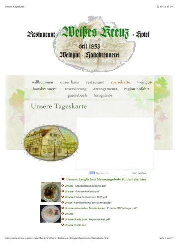 Unsere Tageskarte - Hotel-Restaurant Weisses Kreuz