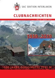 Clubheft Nr. 62 – März 2010 - SAC Sektion Interlaken