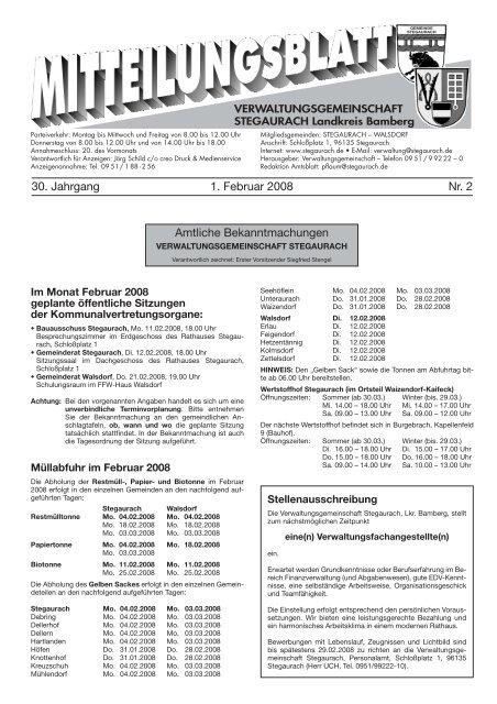 Februar 2008 Verwaltungsgemeinschaft Stegaurach