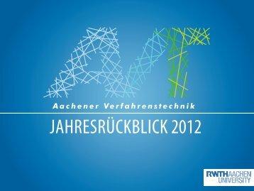 Weihnachtsgrüße 2012 (deutsch) - Aachener Verfahrenstechnik