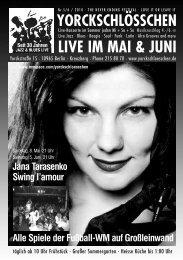 LIVE IM MAI & JUNI - Yorckschlösschen