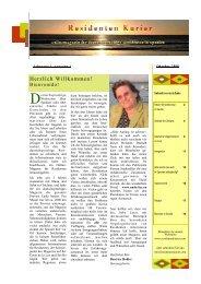 Residentenkurier Nr. 1, Oktober 2008 - Residentenkurier » Achtung ...