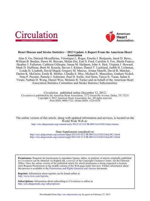 AHA Statistical Update - Circulation